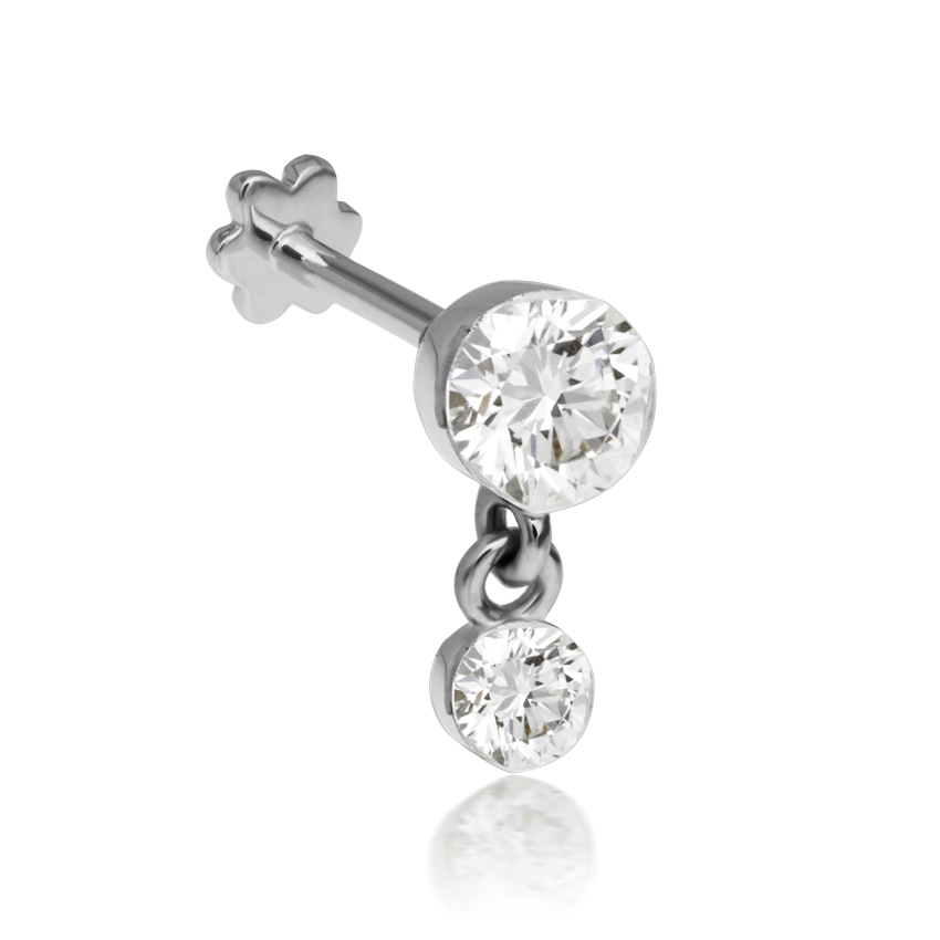 3mm-2mm Invisible Set Diamond Dangle Threaded Stud