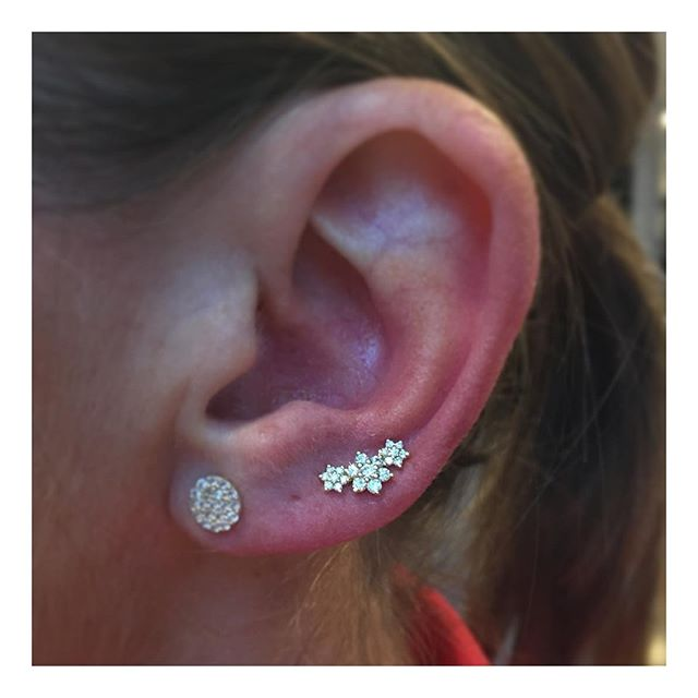 19fa878a80960 Diamond 3 Flower Garland Threaded Stud | Earrings