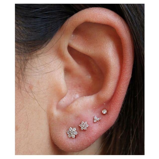 1f2fb265d Sophisticated diamond ear collection- flower studs, trinity stud, and  scalloped stud. (shop link in profile) @tobiasxva #mariatash  #venusbymariatash ...