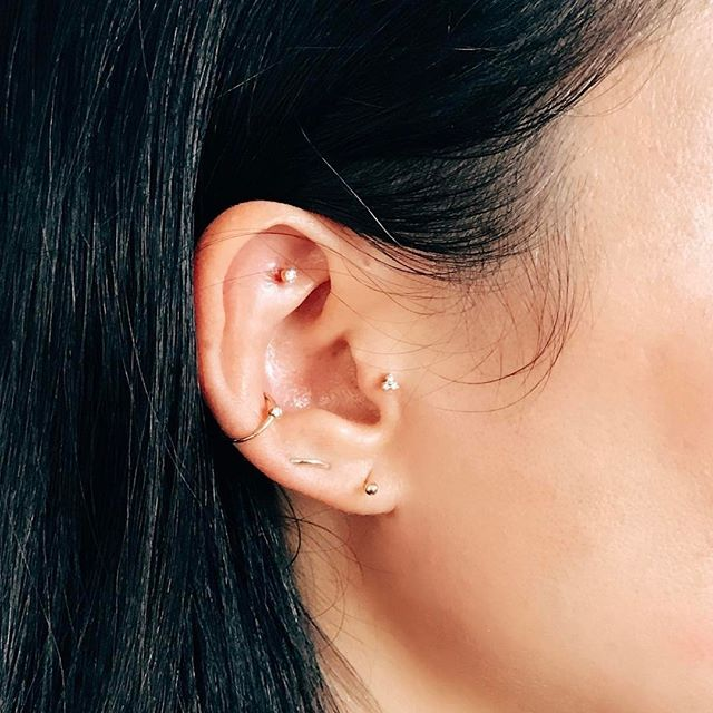1bd4ba919 We were so glad she decided to add a golden conch ring and diamond trinity tragus  piercing at our popup in #hongkong !