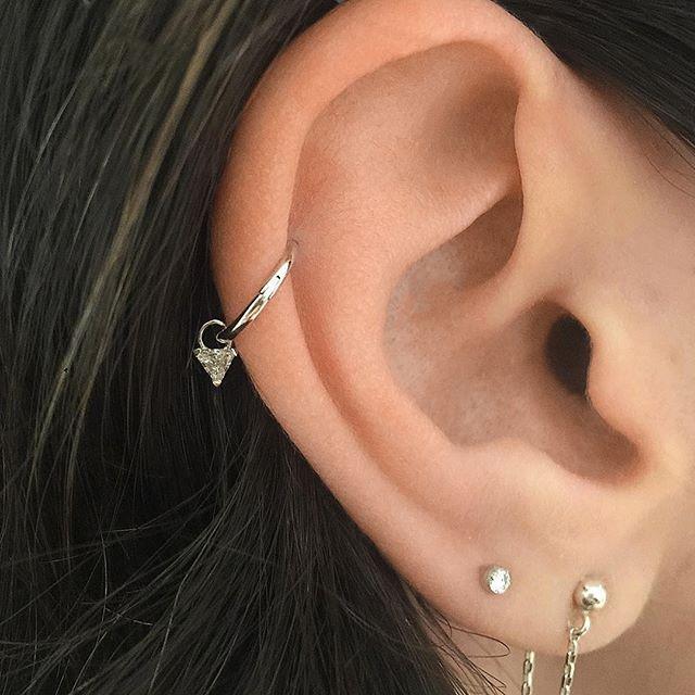 earrings double ring charm