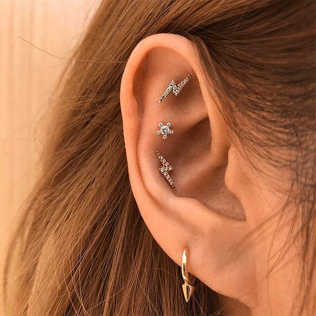 Engagement & Wedding Expressive Real Emeralds & Diamond Flower 14k Gold Nose Lip Labret Piercing Ring Screw Stud
