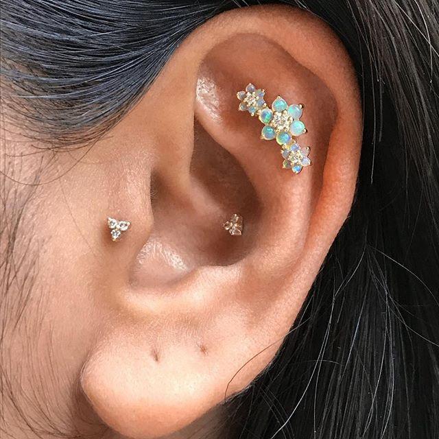 ca68bb75dca45 Three Opal and Diamond Flower Garland Threaded Stud | Earrings