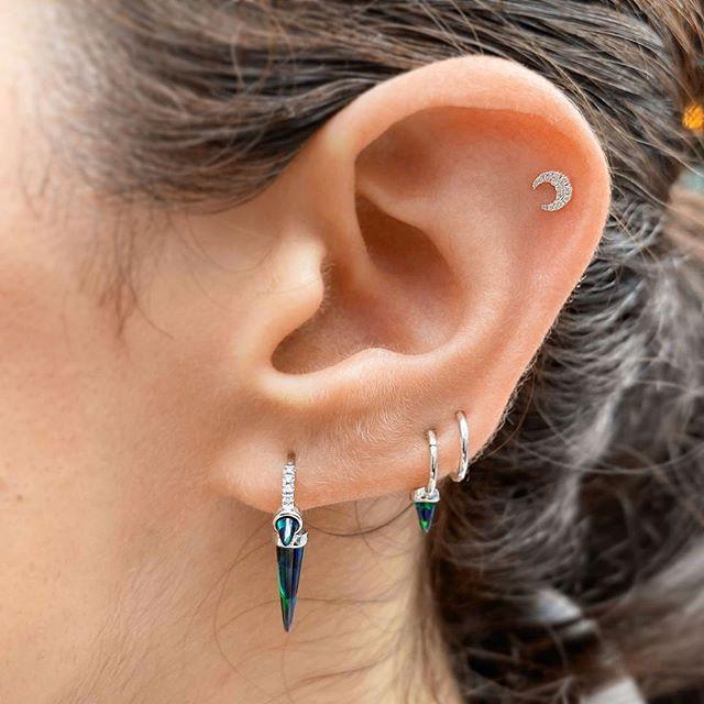 Crescent moon spike hoop earrings